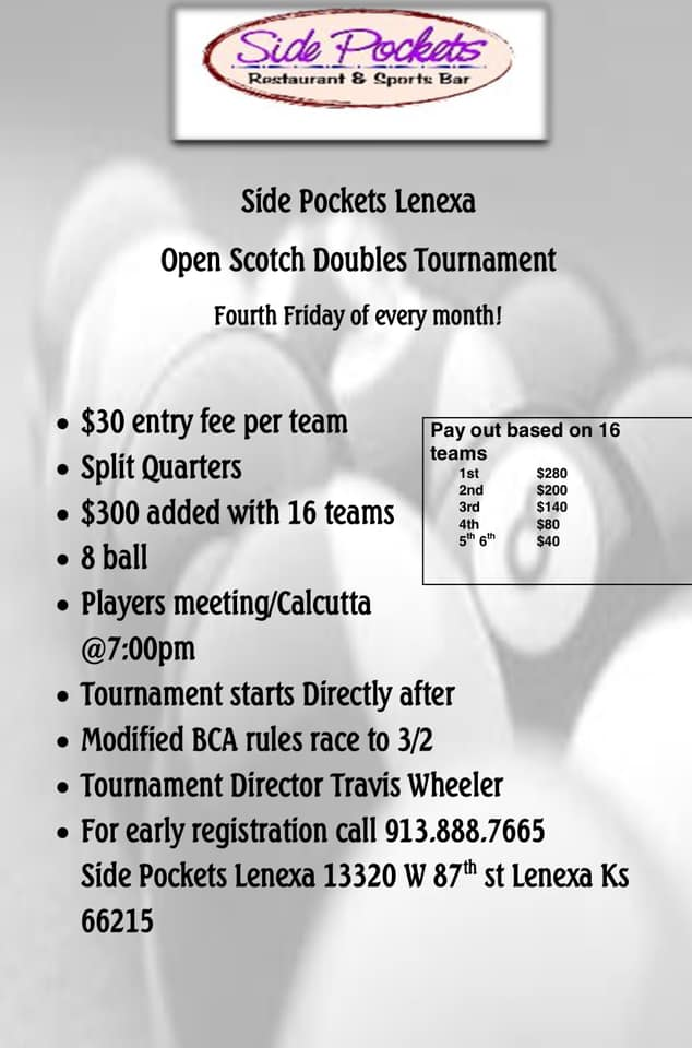 shooters olathe midwest 9-ball tour event flyer